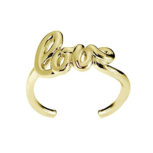 Hoops & Loops Yellow Gold Flash Sterling Silver Polished Love Toe Ring