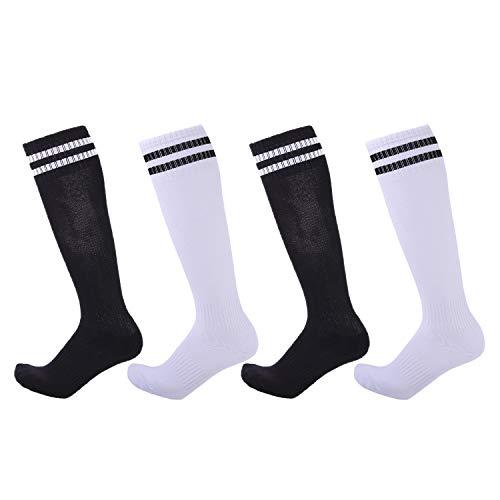 4 Pairs Boys Girls Soccer Socks Towel Cushioning Compression Sport Socks Cotton Team Socks for Children & Kids & Teenagers Black & White