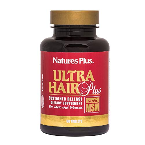 NaturesPlus Ultra Hair, Sustained Release - 60 Vegetarian Tablets - Natural Hair Growth Supplement For Men & Women - Longer, Thicker Hair - Gluten-Free - 30 Servings