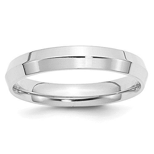 (Solid 10k White Gold 4mm Knife Edge Comfort Fit Wedding Band Size 6)