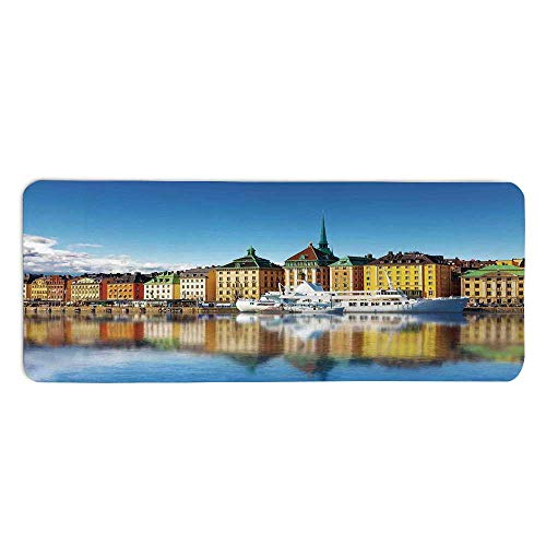 YOLIYANA Wanderlust Decor Fashionable Long Door Mat,Summer Panorama of The Gamla Stan in Stockholm Sweden Yacht Ship by The Port Ocean for Home Office,One Size