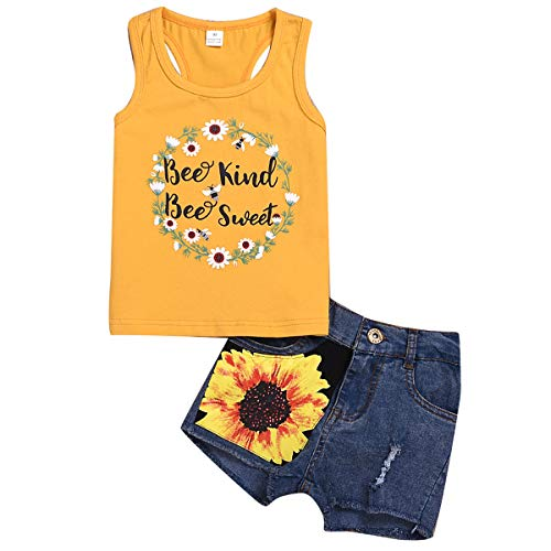 2 Style Toddler Girl Sleeveless Vest Tops +Floral Denim Shorts Outfits Set (4-5T, Garland+Yellow)