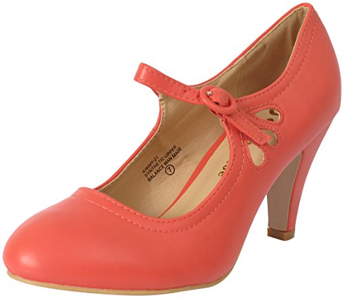 Chase & Chloe Kimmy-21 Synthetic Shoes Women - Round Toe Mid Heel Mary Jane Dress Shoe Coral 6.5