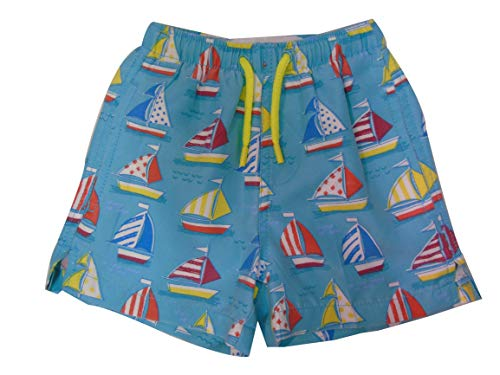 INGEAR Little Boys Quick Dry Beach Board Shorts Kids Swim Trunk Swimsuit Beach Shorts with Mesh Lining (Sailboats, 3T)