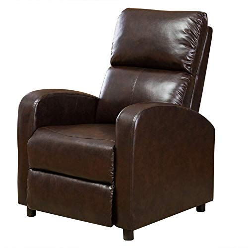 BONZY Manual Push Back Recliner Chair Modern Leather Leisure Recliner Sofa- Dark Brown