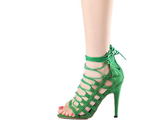 2018 Sexy High Heels Sandals Green Velvet Women Summer Party Sandal Size 33-41 42 43,Green Sandals,10.5