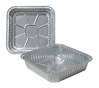 """Durable Packaging 1100-30 Disposable Aluminum Square Cake Pan, 8"""" x 8"""" x 1-3/4"""" (Pack of 500)"""