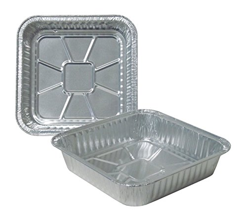 Durable Packaging Disposable Aluminum Square Cake Pan, 8'' x 8'' x 1-3/4'' (Pack of 500) by Durable Packaging