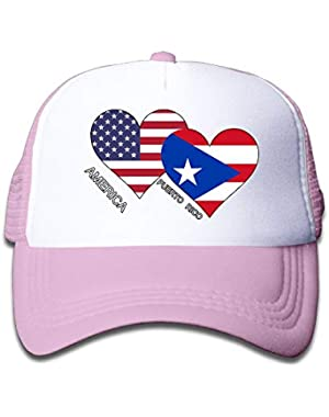 America Puerto Rico Flag Heart On Kids Trucker Hat, Youth Toddler Mesh Hats Baseball Cap