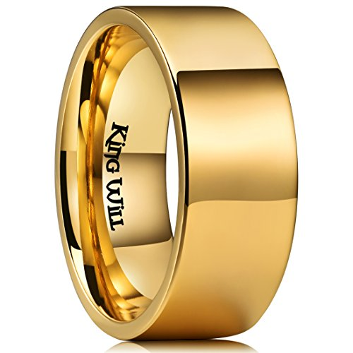 - King Will Glory 10mm Gold Titanium Wedding Ring High Polished Flat Pipe Cut Comfort Fit 9.5
