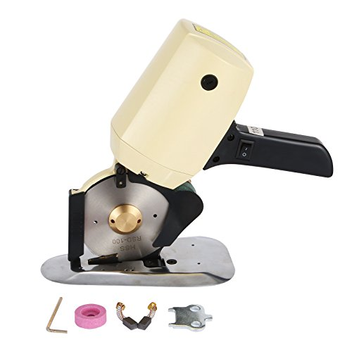 BestEquip Electric Cloth Fabric Leather Wool Cutting Machine 4 Inch Octagon Blade Industrial Electric Cloth Cutter 1 Inch Capacity Rotary Cutter Multi Layer Power Electric Scissors (Fabric ()