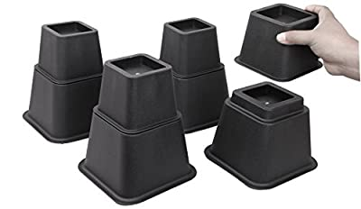Easygoing 8 Inch Adjustable Bed or Furniture Risers to 8, 5 or 3 Inches in Height, Heavy Duty Bed Lifts, 8pcs