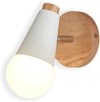 Lampara Moderno del Pared Luz E27 Focos Iluminacion del LED Aplique Metal para Cafeteria Bar Casa Dormitorio Escalera Pasillo Restaurante Cocina (Blanco + Madera): Amazon.es: Iluminación