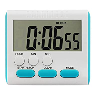 EVELTEK Digital Kitchen Alarm Timer/Clock,large LCD display,loud sounding alarm,Countdown or CountUp for Cooking/School /Games (blue key)