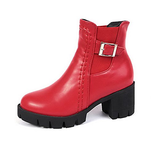 AllhqFashion Damen Rein Mittler Absatz Rund Zehe Ziehen auf Stiefel Rot