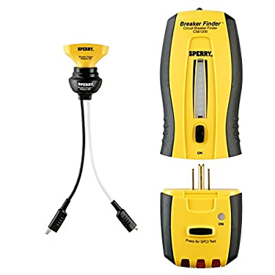 Sperry Instruments CS61200P Circuit Breaker Finder Kit, 120V AC, Audio & Visual Indicator, Standard & GFCI Outlet Tester, Includes: CS61200AS Accessory Traces Lights & Switches, 2 Pc. Kit, Yellow & Black