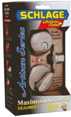043156177165 - Schlage B360NV619 Single-Cylinder Deadbolt, Satin Nickel carousel main 1