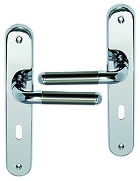 Poignée De Porte Intérieure Design En Laiton Chromé Brillant Sur Plaque Clé  L Entraxe 195 Mm