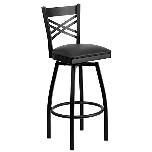 Flash Furniture HERCULES Series Black ''X'' Back Swivel Metal Barstool - Black Vinyl Seat (Metal Swivel Bar Seat Stool)
