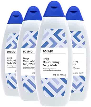 Amazon Brand - Solimo Deep Moisturizing Body Wash, Dermatologist Tested, 22 Fluid Ounce (Pack of 4)