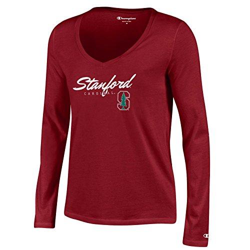 NCAA Stanford Cardinal Women's University Long sleeve V-Neck Tee, Small, Cardinal (Cardinal Stanford Tee)