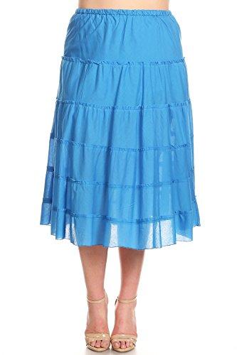 She's Cool High Waist Plus Size A-Line Ruffled Midi Skirt (2XL)