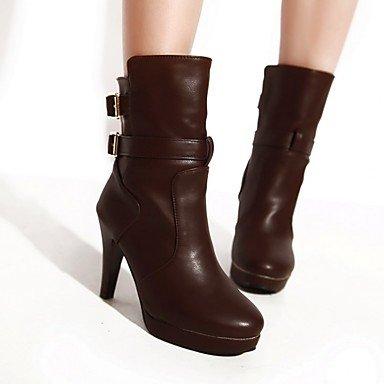 GLL&xuezi Damen Stiefel Komfort Nubukleder PU Herbst Winter Normal Schwarz Gelb Braun 10 - 12 cm brown