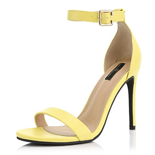 pen Toe Ankle Buckle Strap Platform Casual Pump Heel Sandal Shoes, Yellow PU, 9 B(M) US ()