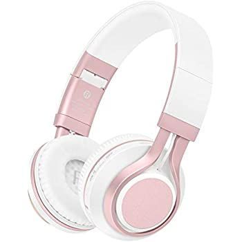... Lightweight Foldable Headset, Soft Protein Earmuffs, Support TF Card & FM Radio Wired Mode for PC TV Travel Kids Girls Women (Rose Gold)