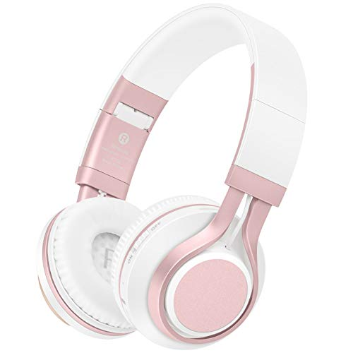 Lightweight Wireless Headphones - Wireless Headphones, HiFi Stereo Bluetooth Headphones with Mic, Lightweight Foldable Headset, Soft Protein Earmuffs, Support TF Card & FM Radio Wired Mode for PC TV Travel Kids Girls Women (Rose Gold)