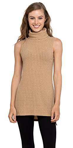 Women's Turtleneck Sleeveless Ribbed Tunic Sweater Tank Top by Velucci