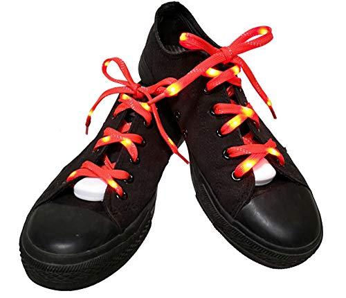 Colore Lilware Scarpe LED To Lampeggiante Visible Rosso luce Shoelaces Rosso Lacci Dare per Be con qgHn70xq