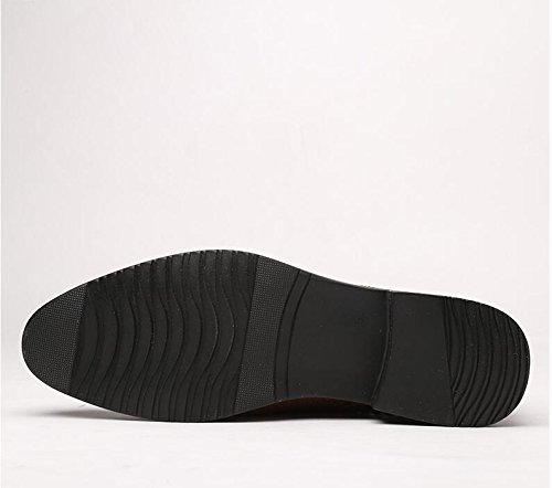 Koyi Hommes Affaires Sandales Respirant Nouveau Creux en Cuir Chaussures Formelle de Mariage Dentelle Chaussures Brown2 E8cpNvXhs1