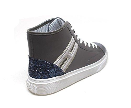 Sneakers Alte Hogan H342 Grigio Pelle, Blu, Argento, Signore.