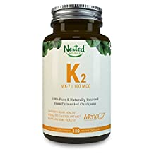VITAMIN K2 (MK7) 100 mcg | 120 Vegan Capsules of Premium, HIGHLY Bioavailable MenaQ7 From Chickpeas – 100% NON GMO & SOY FREE K 2 Supplement | Bone & Cardiovascular Health Support | MK 7 Supplements