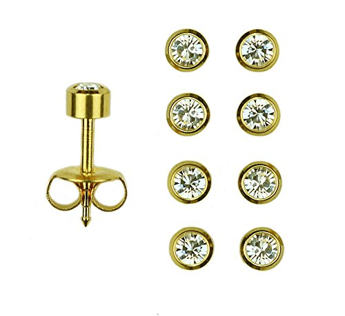 24k Gold Set - Set Of 4 Pairs 24K Gold Over Surgical Stainless Steel April RD3.0mm Bezel Setting Stud Earrings