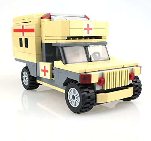 - inFUNity US Army Vehicle Humvee Ambulance Building Blocks (260 pcs), Great to Pair with Army Minifigures, Military Vehicles, Bricks Compatible with Lego