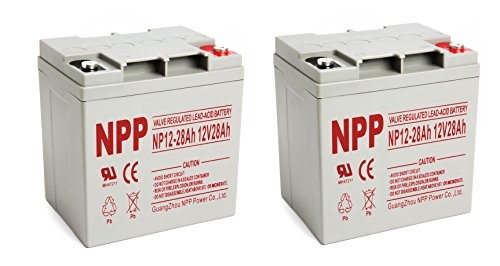 NPP 12V 28 Amp NP12 28Ah Rechargeable Lead Acid Battery With Button Style Terminals / 2 Pack by NPP
