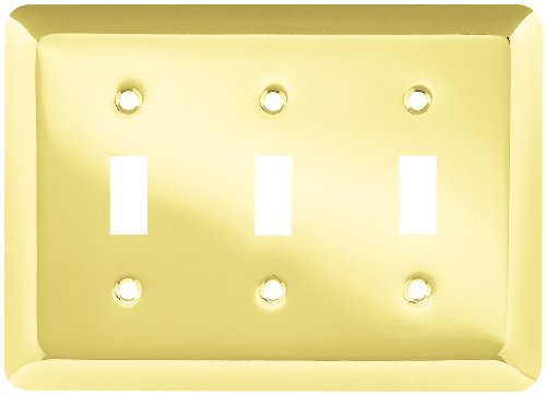 BRAINERD 64375 Stamped Round Triple Switch Wall Plate, Polished ()