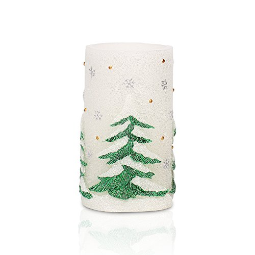 GiveU AM14X008 Green Tree Flameless Led Battery Operated Real Wax Candle with 4&8 Hour Timer for St.Patrick s Day Home Spring Decoration, 3x6inches 3 Sparkling Pillar Candles
