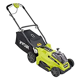"16"" ONE+ 18-Volt Lithium-Ion Cordless Lawn Mower (Battery and Charger Not Included) 1 Ditch the gas, oil, and tune-ups with the Ryobi ONE+ 18V Cordless Push Behind Mower. This electric mower is ideal for mid sized lawns that are flat or sloped with obstacles. Adjust the cutting height between 1.25 to 2.75 inches to customize the mower to your lawn's needs. It comes with an optional grass bag if you prefer to bag your clippings for easy clean up and a foldable handle for easy storage. Take the leg work out of mowing with the Ryobi ONE+ 18V Cordless Push Behind Mower."