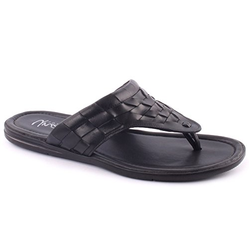 Unze London Mens Leather 'Chiga' Slip on Open Toe Thong B...