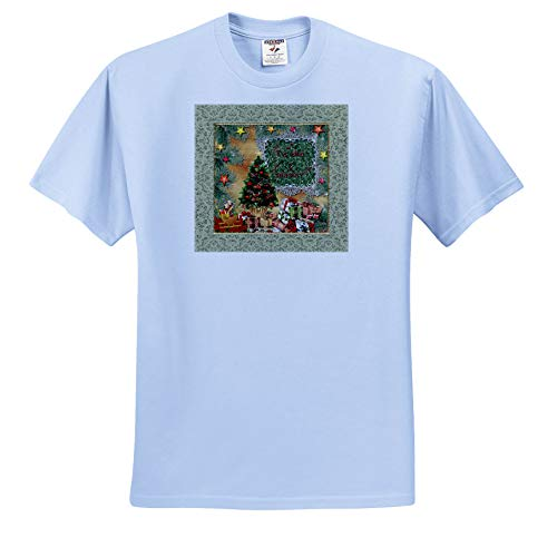 - Beverly Turner Christmas Design - Tis The Season, Christmas Tree, Dogs in Sled, Lots of Gifts and Stars - T-Shirts - Light Blue Infant Lap-Shoulder Tee (6M) (ts_302910_74)