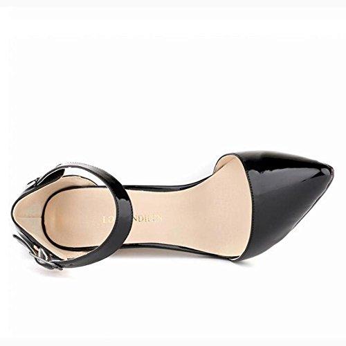 L@YC Zapatos De TacóN alto De Las Mujeres Con La Pintura De Punta Fina Falda Discoteca De Color Poco Profundo Pink
