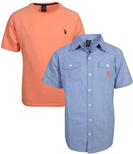 U.S. Polo Assn. Boy's Short Sleeve Button Down Shirt 2 Piece Set, Denim Blue/Coral, Size 8'