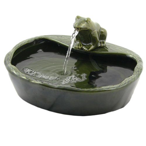 Sunnydaze Ceramic Frog Solar Powered Water Fountain, Outdoor...