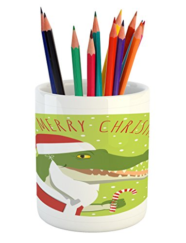 Lunarable Alligator Pencil Pen Holder, Smiling Crocodile in