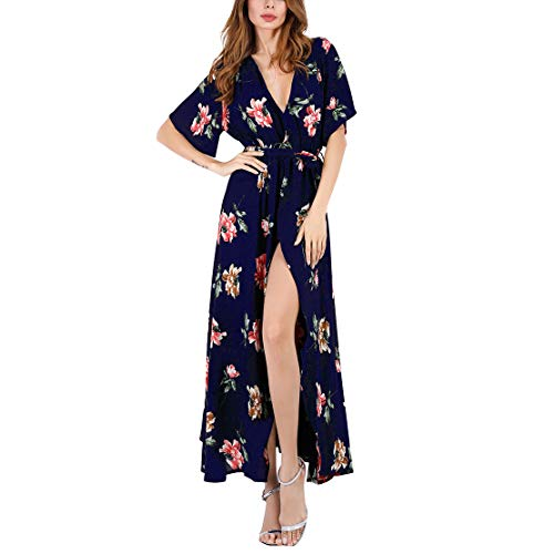 - Mojonnie Women's Boho Deep V Neck Floral Printed Wrap Split Long Dress