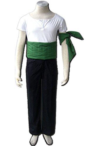 [Japanese Anime One Piece Uniform Cosplay Costume-Roronoa Zoro 4Pcs Set] (Roronoa Zoro Costumes)