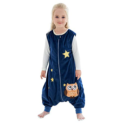 MICHLEY Baby Sleeping Bag Sack with Feet Spring Winter Swaddle Wearable Blanket Sleeveless Nightgowns for Infant Toddler, 2-4T, Dark Blue Owl